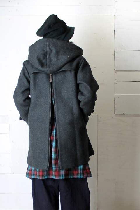 【ラスト1点】HEAVY MELTON BACK ZIP HOODED COAT'DEPP'(メルトンコート)