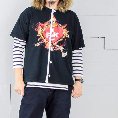 USEDTシャツをリメイクした半袖シャツ【soccer shirt : 1FCK】